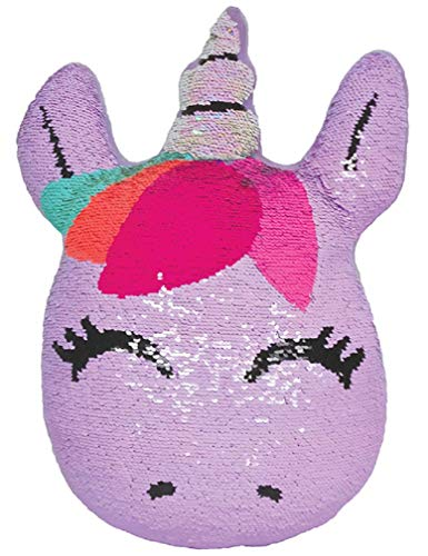 iscream Sweet Unicorn 12 x 16 Reversible Sequin Soft Fleece Back Accent Pillow