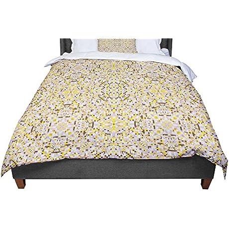 KESS InHouse Allison Soupcoff Hint Yellow Beige Twin Comforter 68 X 88