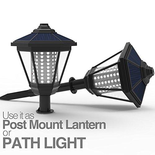 lampat solar lights 108 led decorative columns post lantern pole lamp pathway garden light. Black Bedroom Furniture Sets. Home Design Ideas