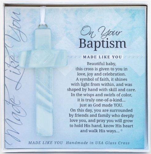 On Your Baptism Beautiful Baby Handmade Aqua Glass - Catholic Gifts Baptism