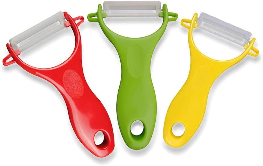 Peladores para cocina, peladores de hojas de cerámica para frutas, patatas, verduras, juego de 3, amarillo, rojo y verde