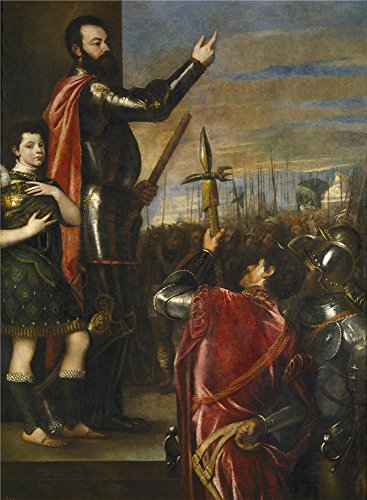 Oil Painting 'Titian [Vecellio Di Gregorio Tiziano] The Marquis Of Vasto Addressing His Troops 1540 41' 24 x 33 inch / 61 x 83 cm , on High Definition HD canvas prints, Bath Room, Gym, Home Th decor (Outdoor Pedestal Clock Thermometer)