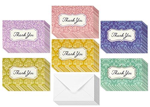 Damask Design Thank You Greeting Cards - 6 Floral Designs, Blank Inside, Envelopes Included - 48 Count