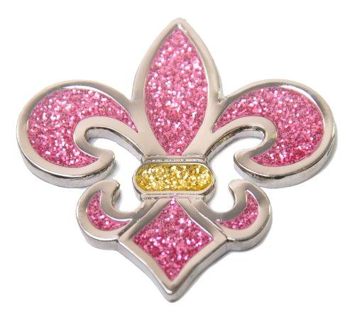Navika Fleur De Lis Glitzy Ball Marker with Hat Clip (Pink)