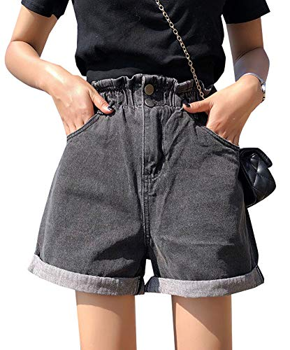 Plaid&Plain Women's High Waisted Denim Shorts Rolled Blue Jean Shorts Grey L