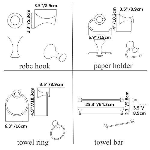 Cavoli 4-Piece Bathroom Hardware Set 25''Towel Bar, Toilet Paper Holder, Towel Ring, Robe Hook, Wall Mounted Bath Hardware Accessory Set Round,Oil Rubbed Bronze