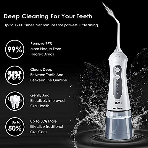 [2018 UPGRADED] Cordless Water Flosser Oral Irrigator - Zerhunt Professional Rechargable Portable Dental Water Jet With 3 Jet Tips For Braces and Teeth Whitening,Travel and Home Use by Zerhunt (Image #2)