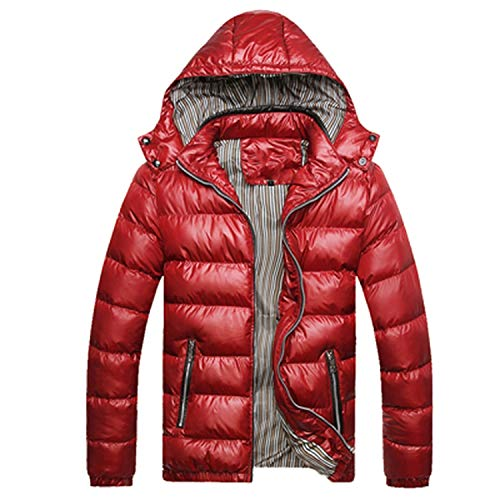 Solid Hooded Men's Winter Jackets Casual Parkas Thick Thermal Shiny Coats Slim Fit Clothing,Red,5XL