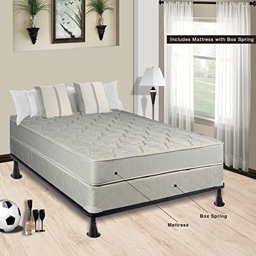 Continental Sleep Hollywood Collection Orthopedic Fully Assembled Mattress and 4'' Split Box Spring Set - Ample Support for Your Back - Premium 357 Coil Innerspring - Twin by Continental Sleep
