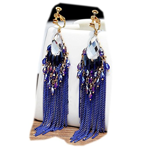 (CNCbetter Women Fashion Charms Blue Crystal Charms Long Dangle Tassel Screw Back Clip On Earring)