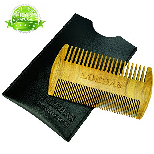 LOEHAS Beard Comb for Men – Natural Wood Aroma Sandalwood Wooden Beard & Mustache Combs With Leather Case – Fine & Coarse Teeth Pocket Comb