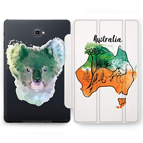 Wonder Wild Australian Koala Samsung Galaxy Tab S4 S2 S3 A E Smart Stand Case 2015 2016 2017 2018 Tablet Cover 8 9.6 9.7 10 10.1 10.5 Inch Clear Animal Geography Wallaby Ostrich Baobab Continent Face]()