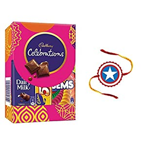 YaYa Cafe Rakhi Gifts Combo for Brother Cadbury Celebrations Assorted Chocolate Gift Pack with Captain America Printed…