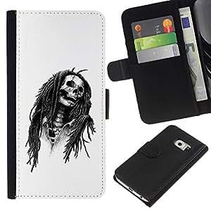 All Phone Most Case / Oferta Especial Cáscara Funda de cuero Monedero Cubierta de proteccion Caso / Wallet Case for Samsung Galaxy S6 EDGE // Marley Rasta Skull Jamaica Singer