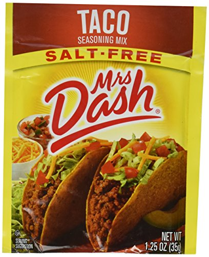Mrs Dash Seasoning Mix - Taco - All Natural - Salt-Free - Net Wt. 1.25 OZ (35 g) Each - Pack of 4 Packets