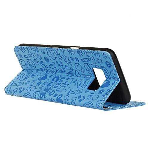 Lusee® PU Caso de cuero sintético Funda para Samsung Galaxy S8 / Samsung Dream / Samsung project / SM-G9500 5.7 Pulgada Cubierta con funda de silicona botón pequeña bruja rojo rosa pequeña bruja azul