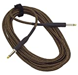 Cable Corp SC20T-BT Vintage Braided Tweed Noiseless Guitar Bass and Keyboard 20' Cable Black and Tangerine