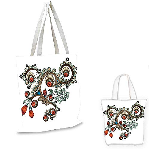 (Henna fashion shopping tote bag Doodle Style Floral Pattern Vibrant Color Palette Asian Culture sloth shopping bag Burnt Sienna Brown Almond Green. 13