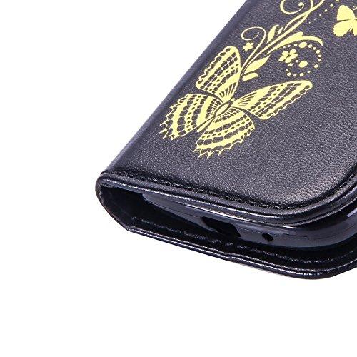 JIALUN-Personality teléfono shell Mariposa de flores doradas en relieve patrón de la cubierta de la caja de cuero de la PU cubierta de silicona caso de billetera con correa de mano para galaxy 7562 Se Black