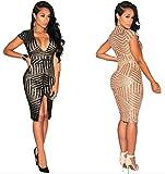 Women's Girls Deep V-neck Low Cut Short Sleeve Sequins Split Bodycon Bandage Party Club Midi Dress Black