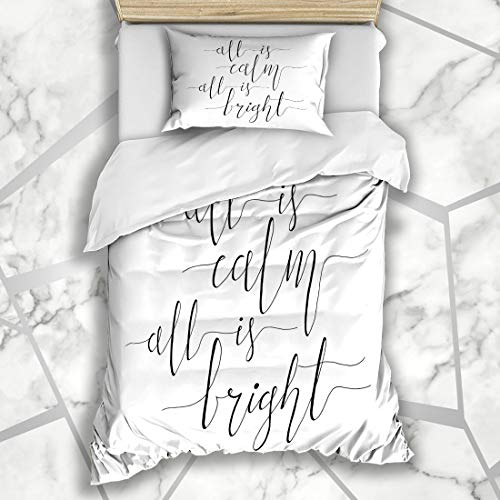 Ahawoso Duvet Cover Sets Twin 68X86 Holy Eve All Calm Bright Christmas Carol Jesus Holidays Quote Baby Abstract Celebration Design Microfiber Bedding with 1 Pillow Shams]()