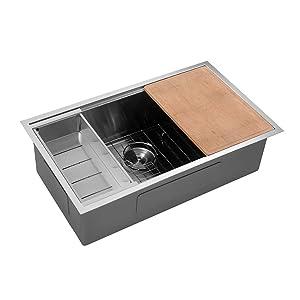 Sarlai SUS3219R1 32 Inch Ledge Undermount Deep 16 Gauge R10 Tight Radius Single Bowl Stainless Steel Kitchen Sink