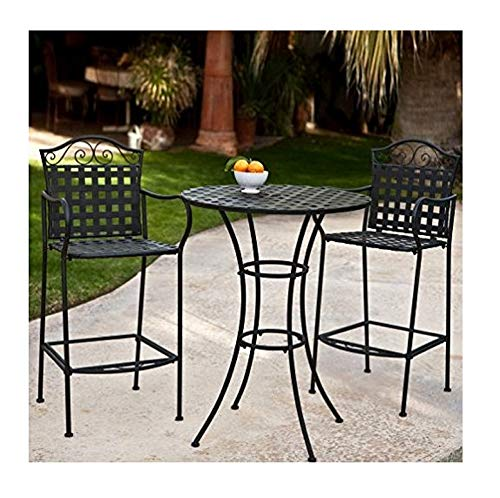 (3 Piece Outdoor Bistro Set Bar Height -Black. This Traditional Patio Furniture is Stylish and Comfortable. Bistro Sets Compliment Your Patio, Deck Or Pool Area Perfectly. Patio Furniture Sets Of This Quality Last For Years.)