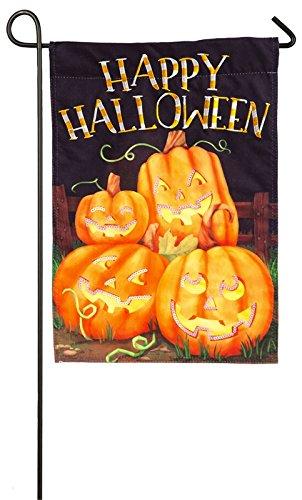 Evergreen Halloween Pumpkin Patch Linen Garden Flag, 12.5 x