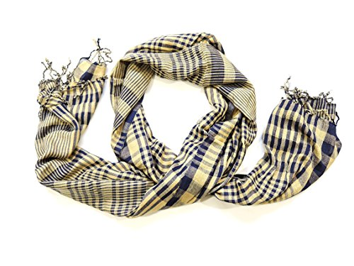 YAPREE HANDMADE SILK SCARF WITH HAND KNOTTED FRINGE BLUE AND GOLD: 36