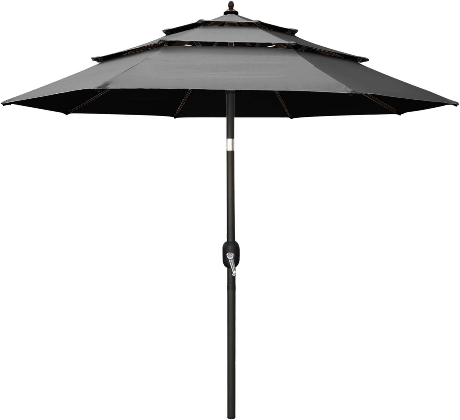 ABCCANOPY 9FT 3 Tiers Market Umbrella Patio Umbrella Outdoor Table Umbrella with Ventilation and Push Button Tilt for Garden, Deck, Backyard and Pool,8 Ribs Gray