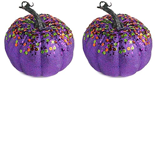 (Factory Direct Craft Festive Purple Glittered and Sequined Foam Pumpkins for Indoor decor - 2)