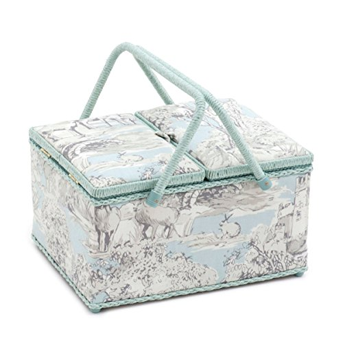 - Hobby Gift 'Manor Toile' Twin Lid Rectangle Sewing Box 24 x 31.5 x 19.5cm (d/w/h)