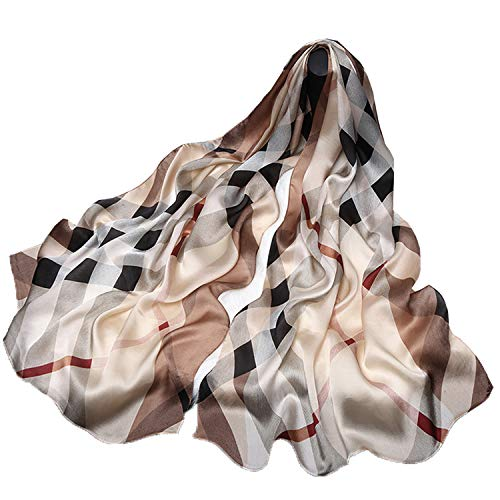 100% Pure Mulberry Silk Women Large Long Scarf Shawl Check Style 69