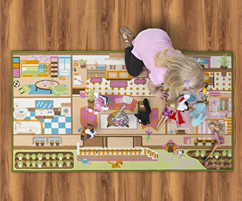 Kids Carpet Playmat Rug Play Time! Fun House Great For Playing With Dolls Mini People Figures Cars, Toys - Learn Educational Play Safe & Have Fun - Children Play Mat,Play Game Area Includes 3D Rooms! by Nessie Playground (Image #5)
