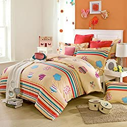 SAYM Home Bedding Sets Elegant Rural Style Print Full Size Set For Lovely Teen Girls 100% Cotton Duvet Cover,Flat Sheet,Shams Set 4Pieces