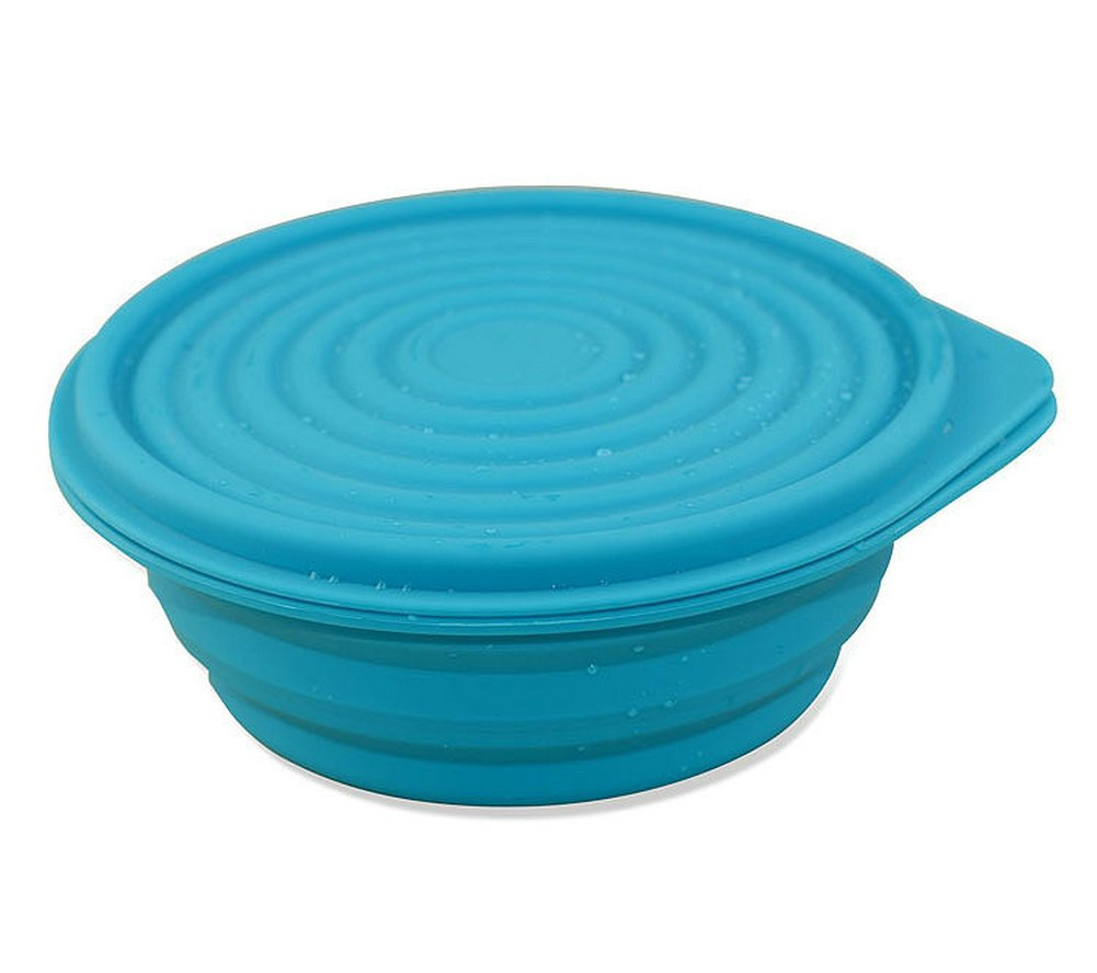 Collapsible Food Grade Silicone Bowls with Lids, BPA-free, Camping, Traveling, Pets, Hiking, Expandable Portable Backpacking Bowl (2 PC) by LTFT (Image #1)