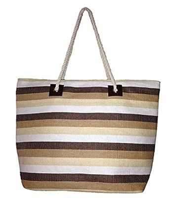 "Large Zipper Top Stripe Straw Look Beach Bag Tote - 21""x15""x6"" (Tan Stripes)"