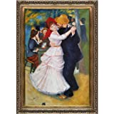 overstockArt Dance at Bougival Artwork by Renoir with Baroque Wood Frame, Antiqued Gold Finish