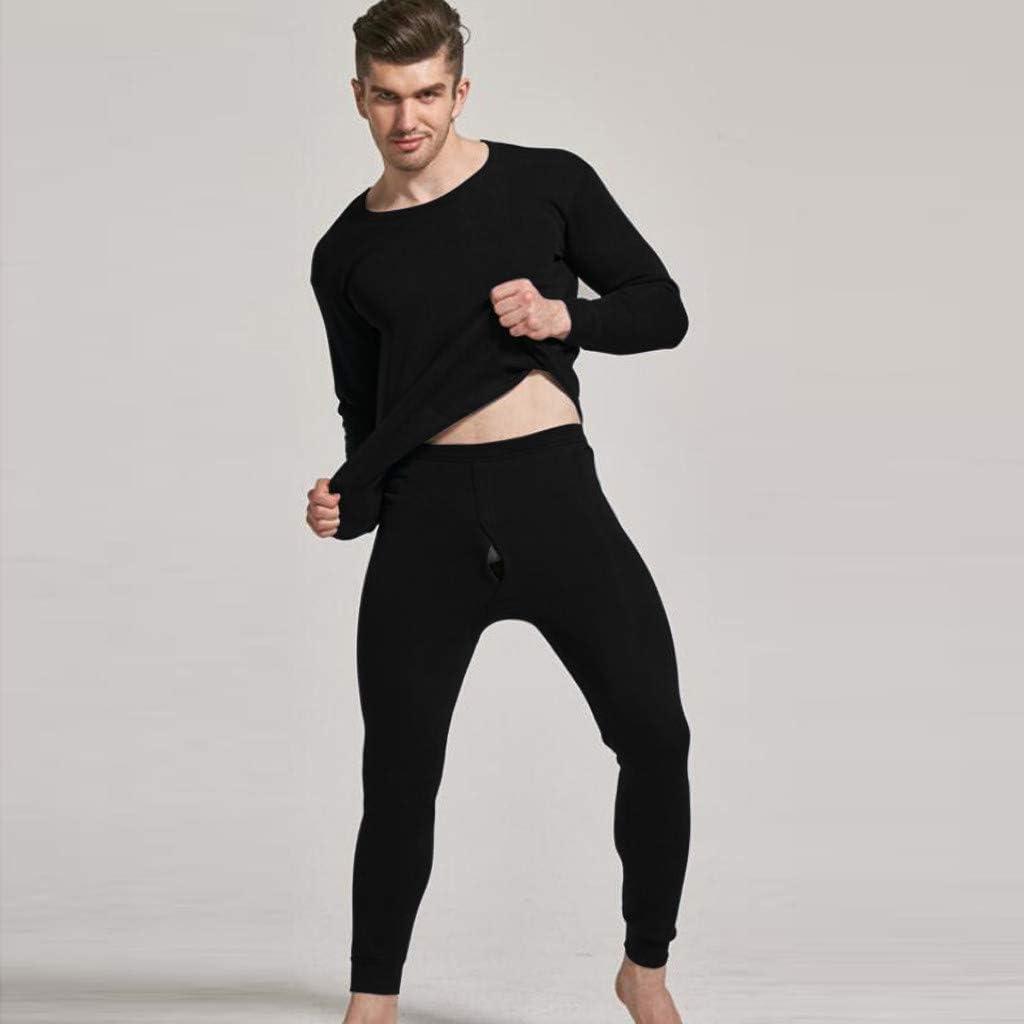 2pcs Mens Thermal Underwear Set Microfiber Fleece Long Johns Base Layer Top and Bottom Winter O-Neck Warm Sleepwear Set