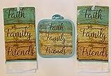 Kitchen Linen Set of 4 pieces - Includes 2 potholders, 2 kitchen towels - Faith, Family, Friends in Mint