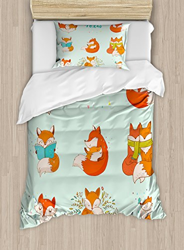 Ambesonne Fox Duvet Cover Set Twin Size, Lovely Fox Characters Sleeping Reading Romantic Couple Nature Collection Kids Comic, Decorative 2 Piece Bedding Set with 1 Pillow Sham, Multicolor by Ambesonne