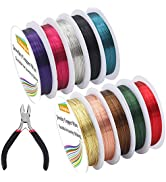 EuTengHao 10 Packs Jewelry Copper Craft Wire Jewelry Beading Wire for Bracelet Necklaces Earring ...