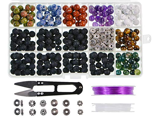 Natural Stone Beads Box Set Kits 8mm Round Loose Gemstone Natural Amethyst Lave Stone Assorted Color with Accessories Tools for Bracelet Jewelry Making (100% Natural Stone Beads Kit - Beads Agate Gemstone Spot Green