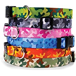 Camouflage Dog Collar - with Tag-A-Long ID Tag System - Camo Blue - Medium 14 to 20 inch length x 1 inch wide