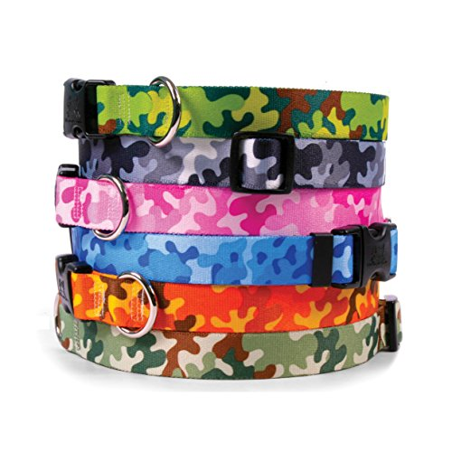 Camouflage Dog Collar - with Tag-A-Long ID Tag System - Camo Pink - Medium 14 to 20 inch length x 1 inch wide