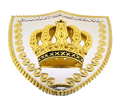 (Crown Papa Chopper Shield Gold Rhinestones King Queen Belt Buckle.)