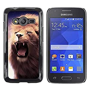 Be Good Phone Accessory // Dura Cáscara cubierta Protectora Caso Carcasa Funda de Protección para Samsung Galaxy Ace 4 G313 SM-G313F // Lion Roar Fangs Teeth Mane Purple Yawn