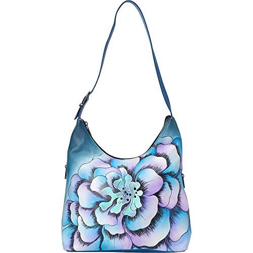 Anna by Anuschka Genuine Leather Hobo Bag | Hand-Painted Original Artwork | Marigold - Hobo Anna
