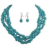 3 Row Imitation Turquoise Stone Beaded Layered Necklace And Earrings Set
