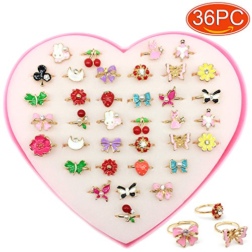 Elesa Miracle 36pcs Children Kids Little Girl Adjustable Jewelry Pearl Rhinestone Rings in Box, Random Shape and Color, Girl Pretend Play and Dress up Rings